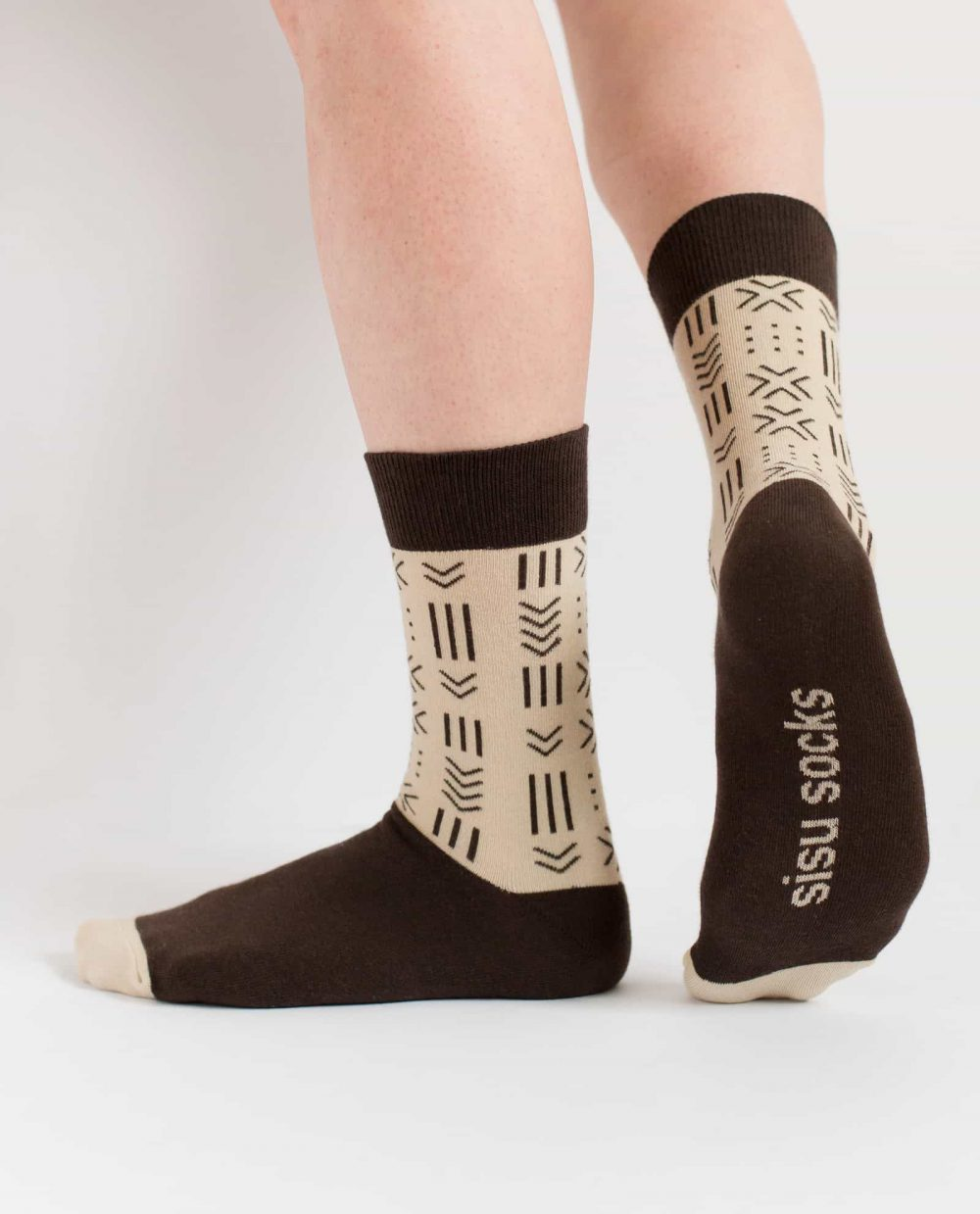 brown and beige african mudcloth socks for women from sisu socks