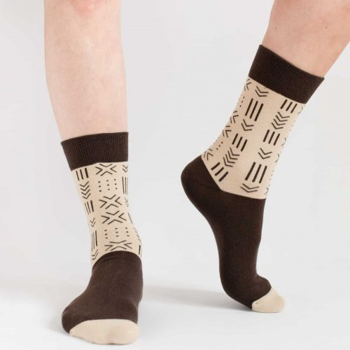 brown and beige african mudcloth socks for women