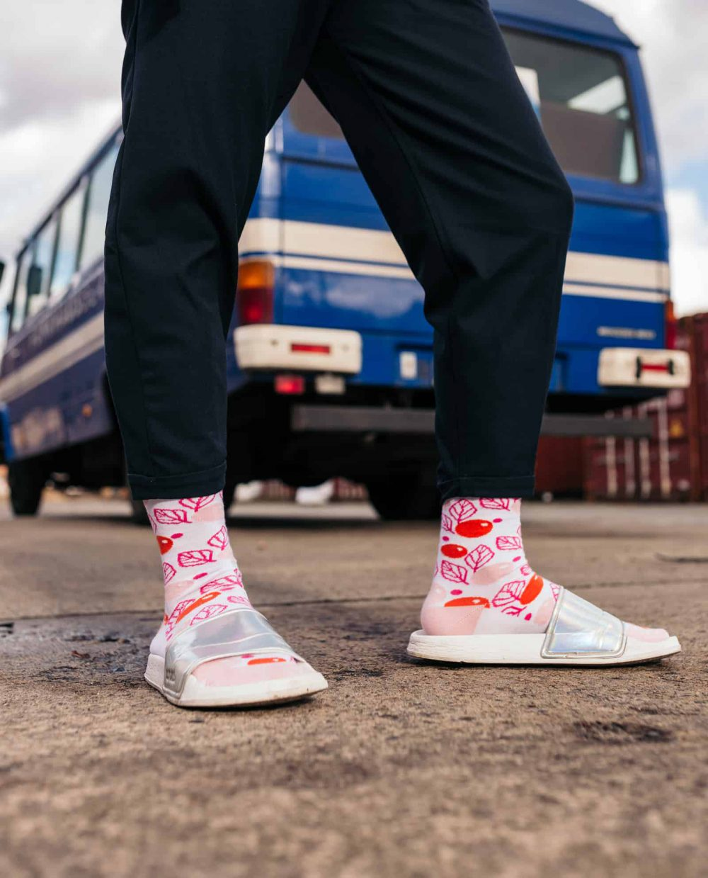 socks for men with pink and floral design
