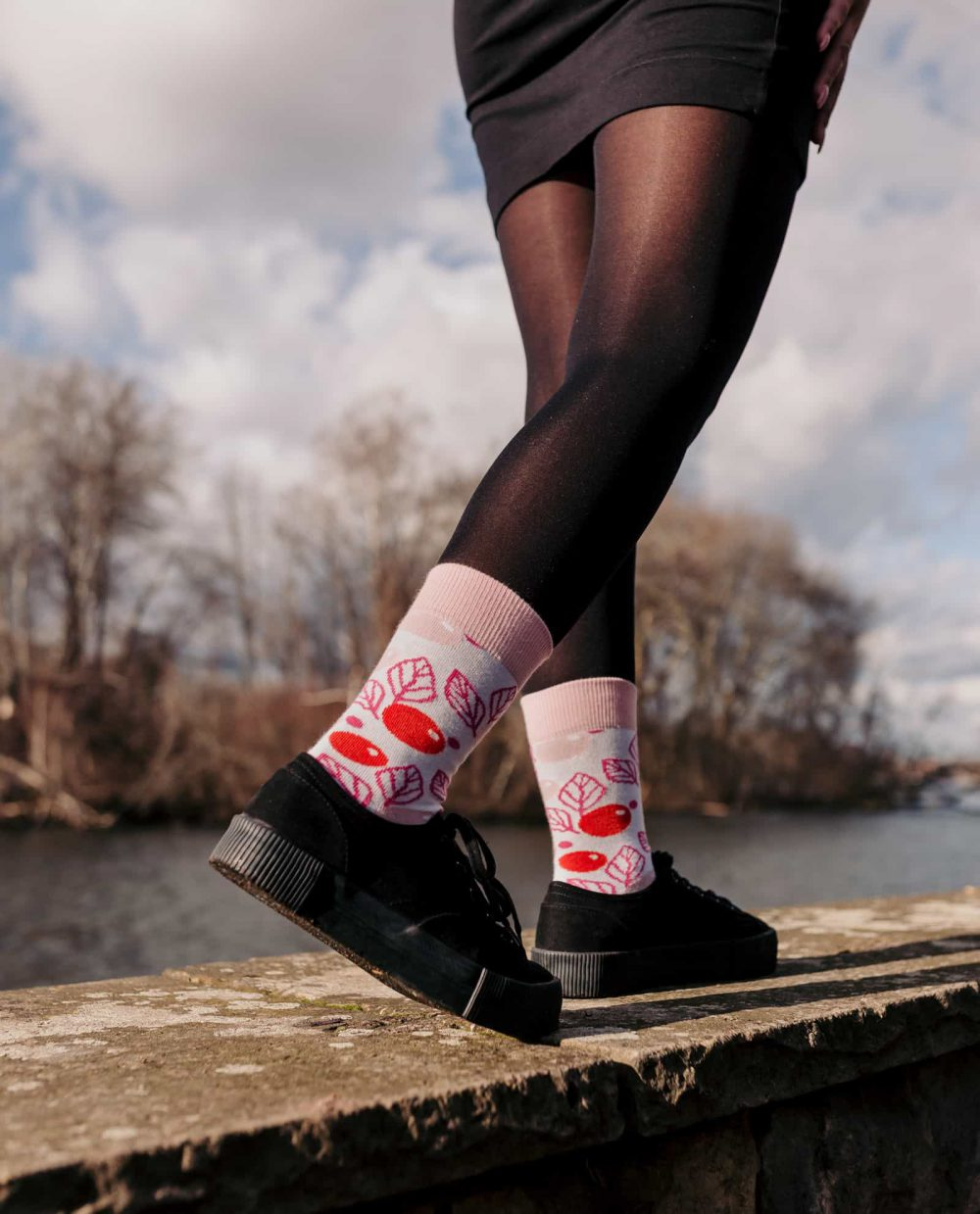 socks for women with pink and floral design