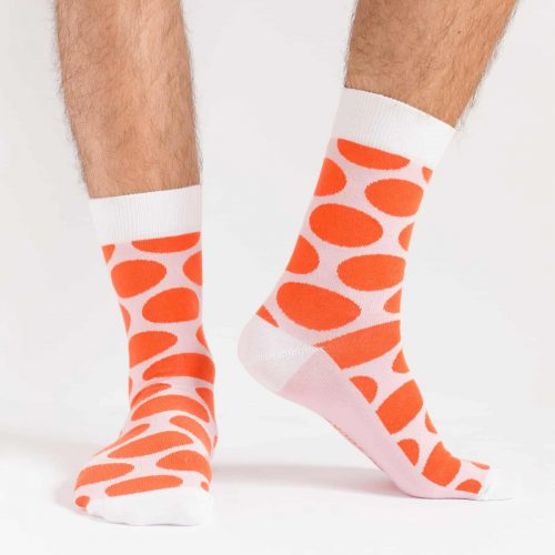 big red polka dot socks for men
