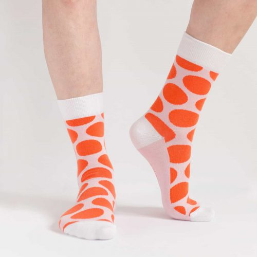 big red polka dot socks for women