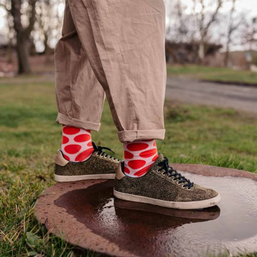 red polka dot socks for men inspired by yayoi kusama