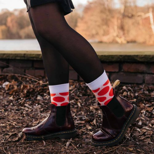 red polka dot socks for women inspired by yayoi kusama